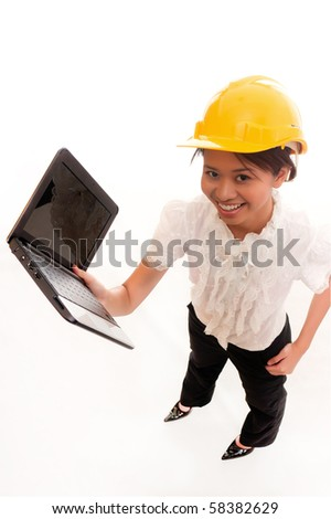 female contractor hold laptop