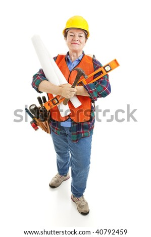 Female contractor with her tools, ready to go to work on a construction project.  Isolated. - stock photo