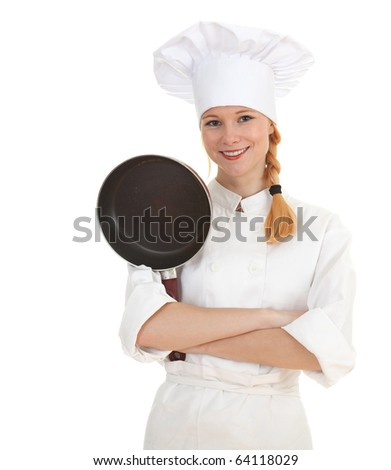female cook in white uniform and hat keeping frying pan