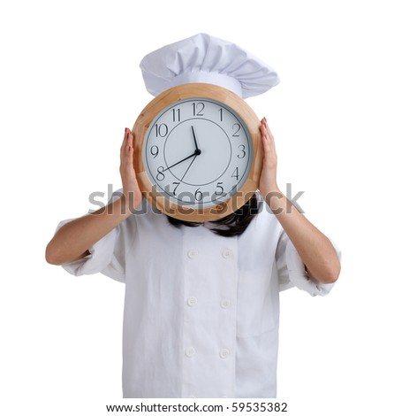 female cook in white uniform and hat with clock head