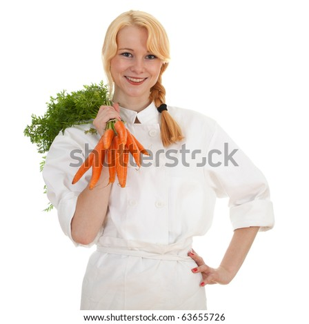 female cook in white uniform with bunch of carrots - stock photo