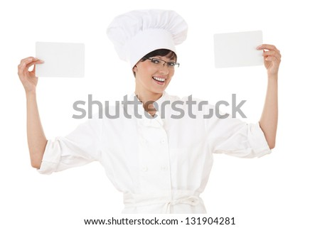 female cook with blank cards, white background - stock photo