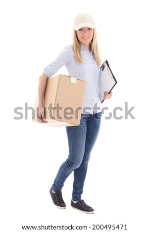 female courier with carboard box isolated on white background - stock photo