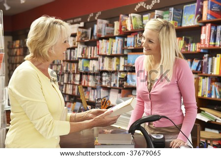 Female customer in bookshop