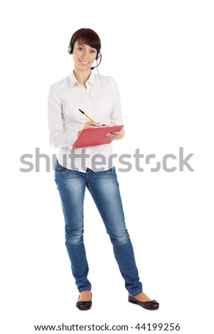 Female customer service representative smiling, isolated on white background. - stock photo