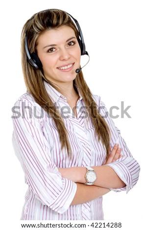Female customer support operator  isolated on white - stock photo