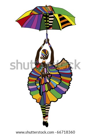 female dancer dancing with an umbrella on a white background (raster version) - stock photo