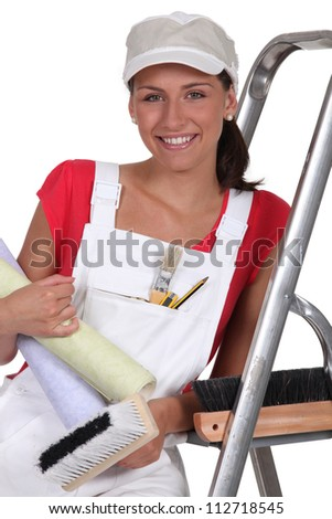 Female decorator - stock photo