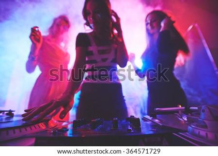 Female deejay - stock photo