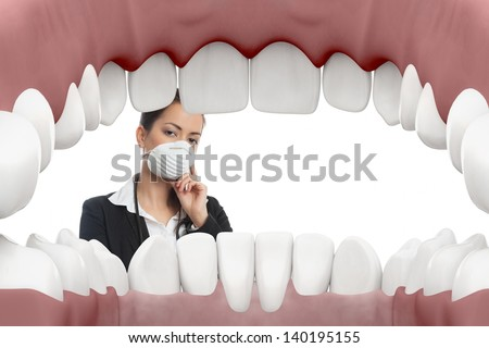 Female dentist looking into mouth with white background