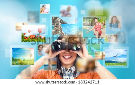 Female designer looking for stock photos online - stock photo