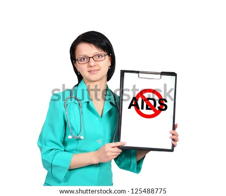 female doctor and clipboard and no aids sign