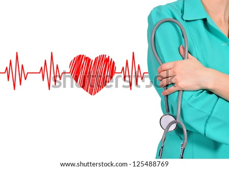 female doctor and stethoscope. closeup - stock photo