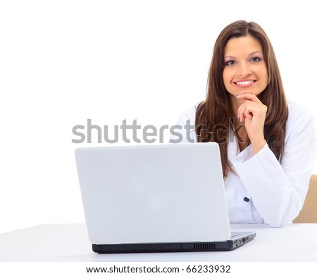 Female doctor at work use laptop - stock photo