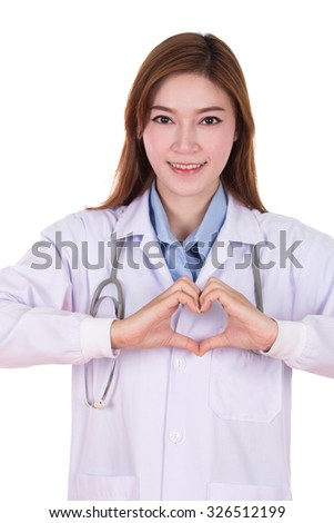 Female doctor doing a heart with her hands isolated on white backgorund