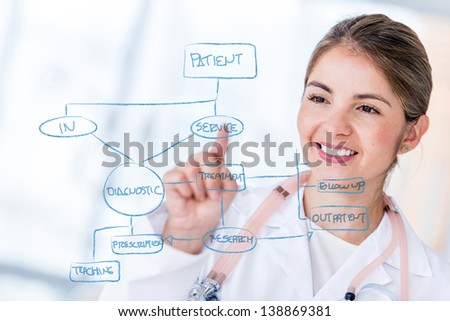 Female doctor drawing a graph on hospital's workflow - stock photo