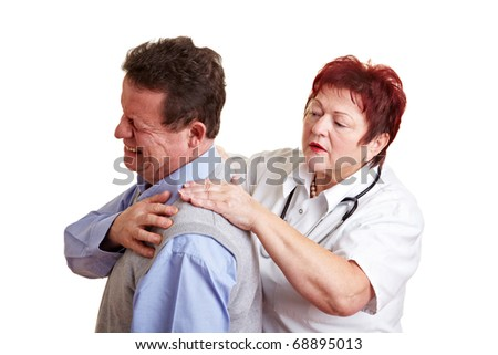 Female doctor examing back pain of a male patient