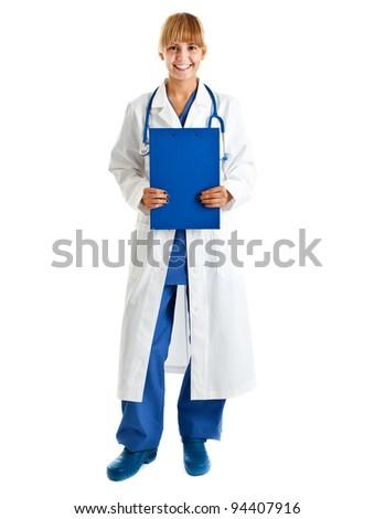 Female doctor full length portrait - stock photo