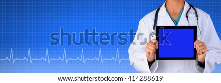 Female Doctor Holding a blank tablet computer over a Health Care background with EKG graph. Suitable for medical web sites with room for your copy.