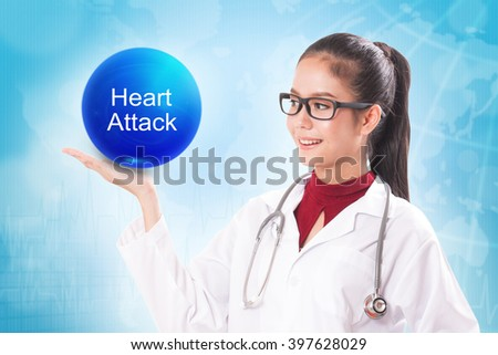 Female doctor holding blue crystal ball with heart attack sign on medical background. - stock photo