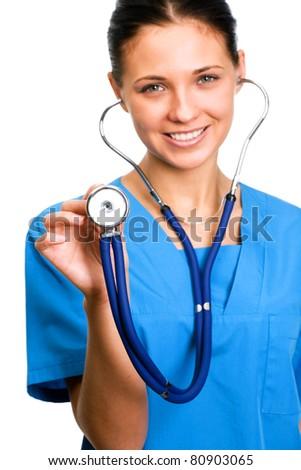 Female doctor holding stethoscope. - stock photo
