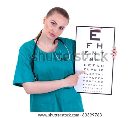 female doctor in green uniform keeping optometry chart