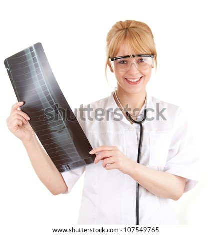 female doctor in protective glasses looking at x-ray, leg, white background