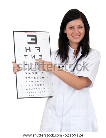 female doctor in white uniform keeping optometry chart