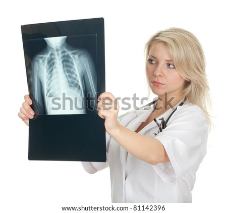female doctor in white uniform reading x-ray chest, lungs - stock photo