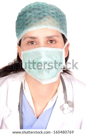 female doctor isolated in white - stock photo