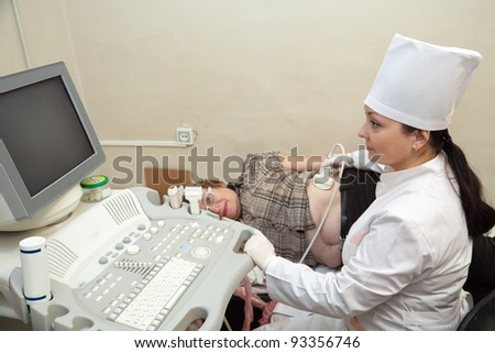 Female doctor making ultrasound investigation in medical clinic