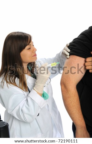 Female doctor or nurse giving a man an injection