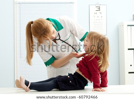 female doctor pediatrician examining  little girl mouth - stock photo