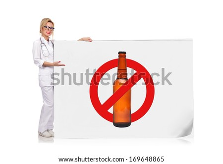 female doctor pointing to poster  with stop alcohol symbol