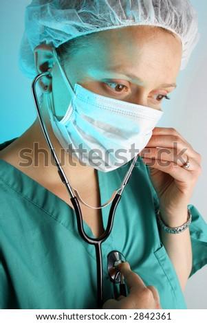 female doctor self exam - stock photo