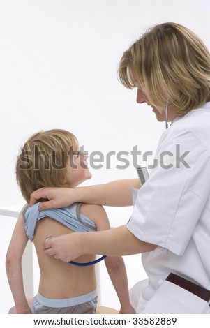 Female doctor with a little boy