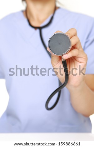 female doctor with a stethoscope