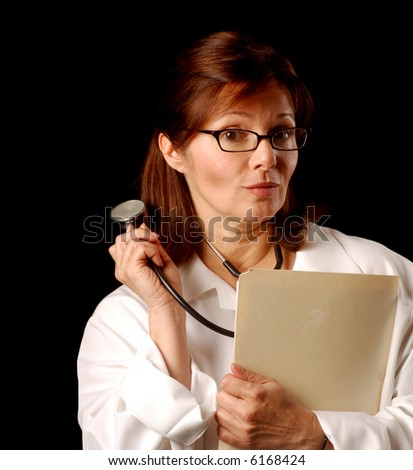 Female doctor with an ambiguous or concerned expression - stock photo