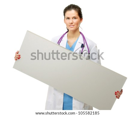 Female doctor with empty board