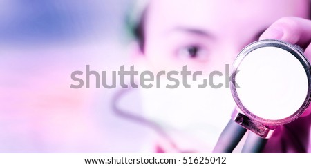 Female doctor with mask and stethoscope.