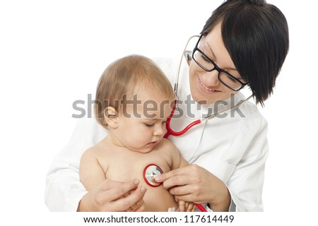 Female doctor with toddler - stock photo