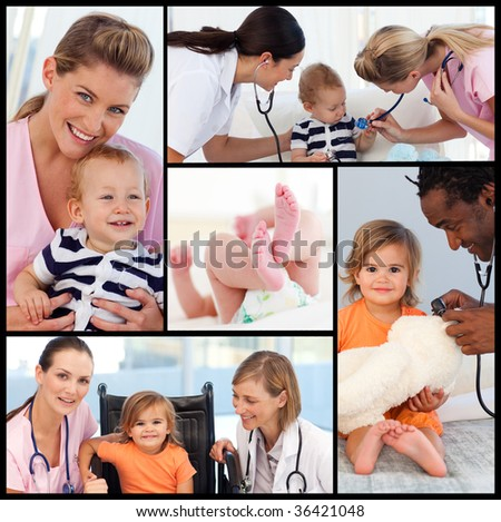 Female doctors attending to a babies pattient