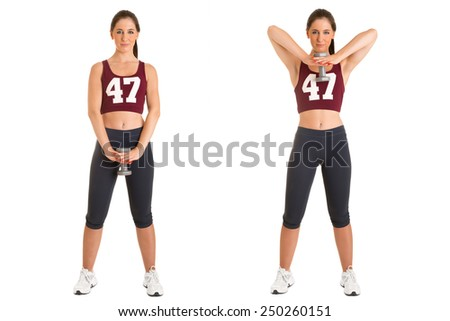 Female doing standing dumbbell upright rows for training her deltoids, isolated in white - stock photo