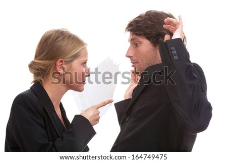 Female domination in office, white isolated background - stock photo