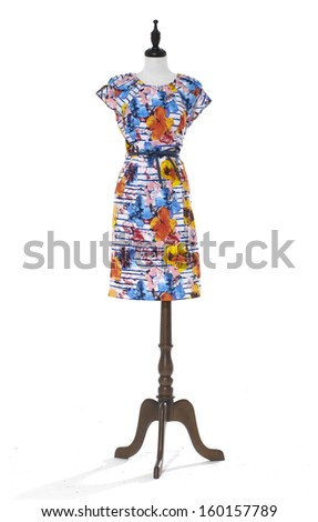 female dress on a dummy isolated on a white background  - stock photo