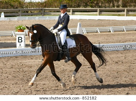 female dressage rider in competition - stock photo