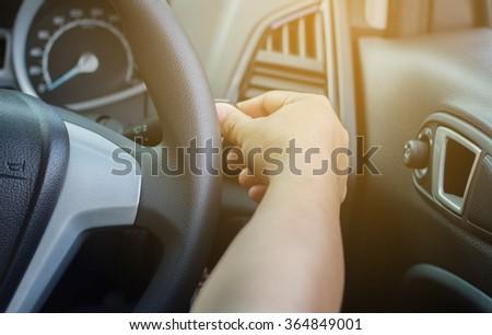 female driving car. - stock photo