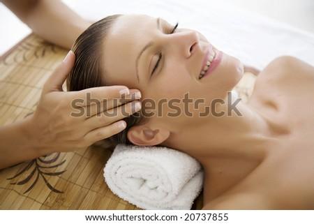 female ebjoying a massage - stock photo