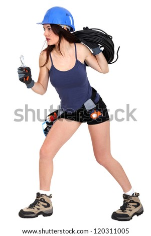 Female electrician - stock photo