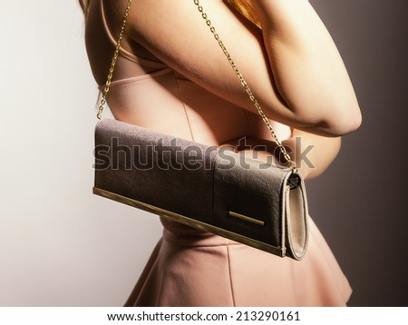 Female elegance. girl young woman holding in hand elegant handbag bag luxury accessory on gray - stock photo
